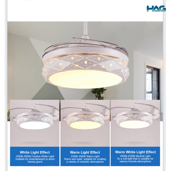HAG Invisible Blade Ceiling Fan 6033 different lighting